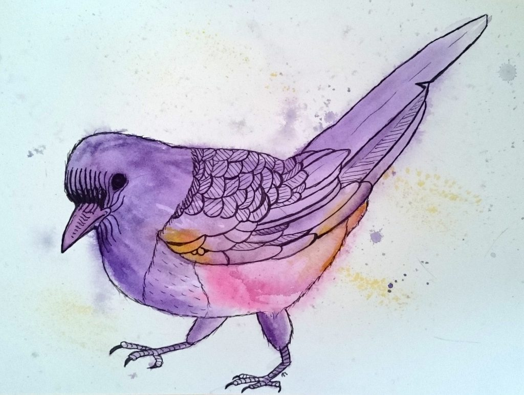 Strange bird 1: Yourng Magpie in Purple by Linda Ursin