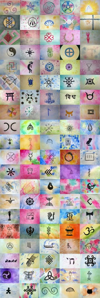 100 sacred symbols collage