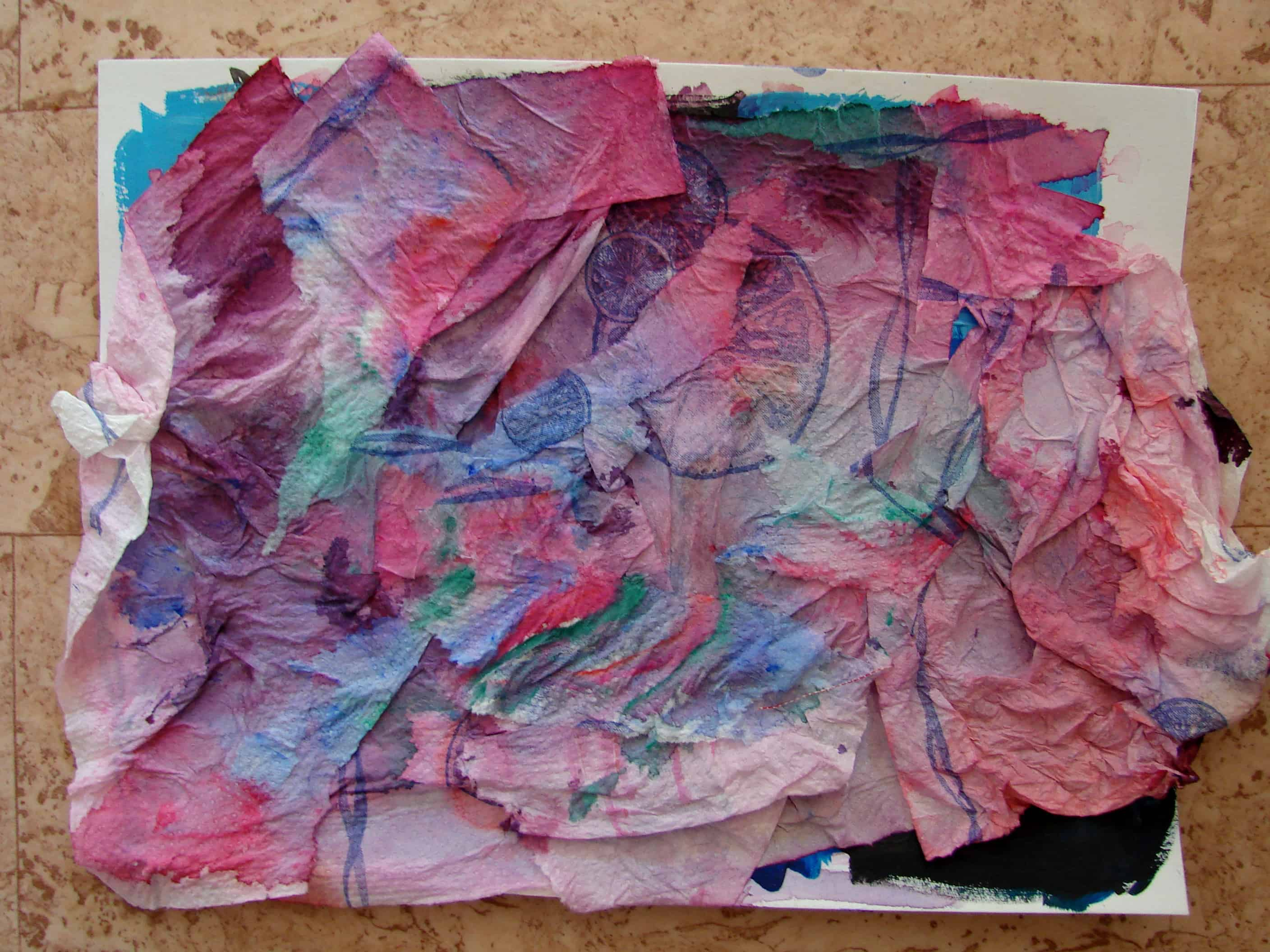An artwork my daughter made pasting pieces of kitchen roll paper and painting them