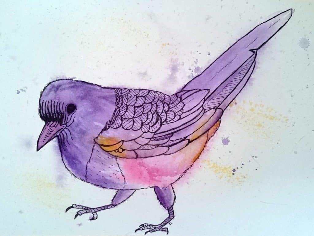 Strange bird 1 Young Magpie in Purple by Linda Ursin
