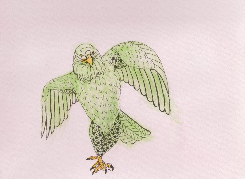 Strange Birds 4 Strutting Eagle in Green by Linda Ursin
