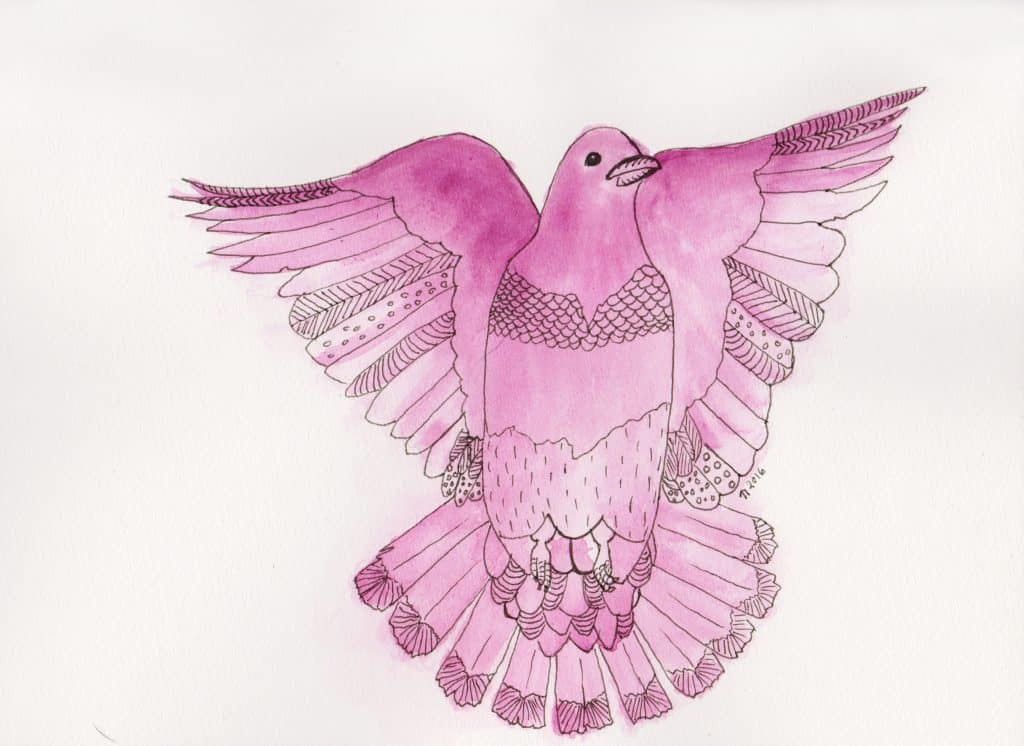 Strange Birds 7 Plum Pigeon in Flight by Linda Ursin