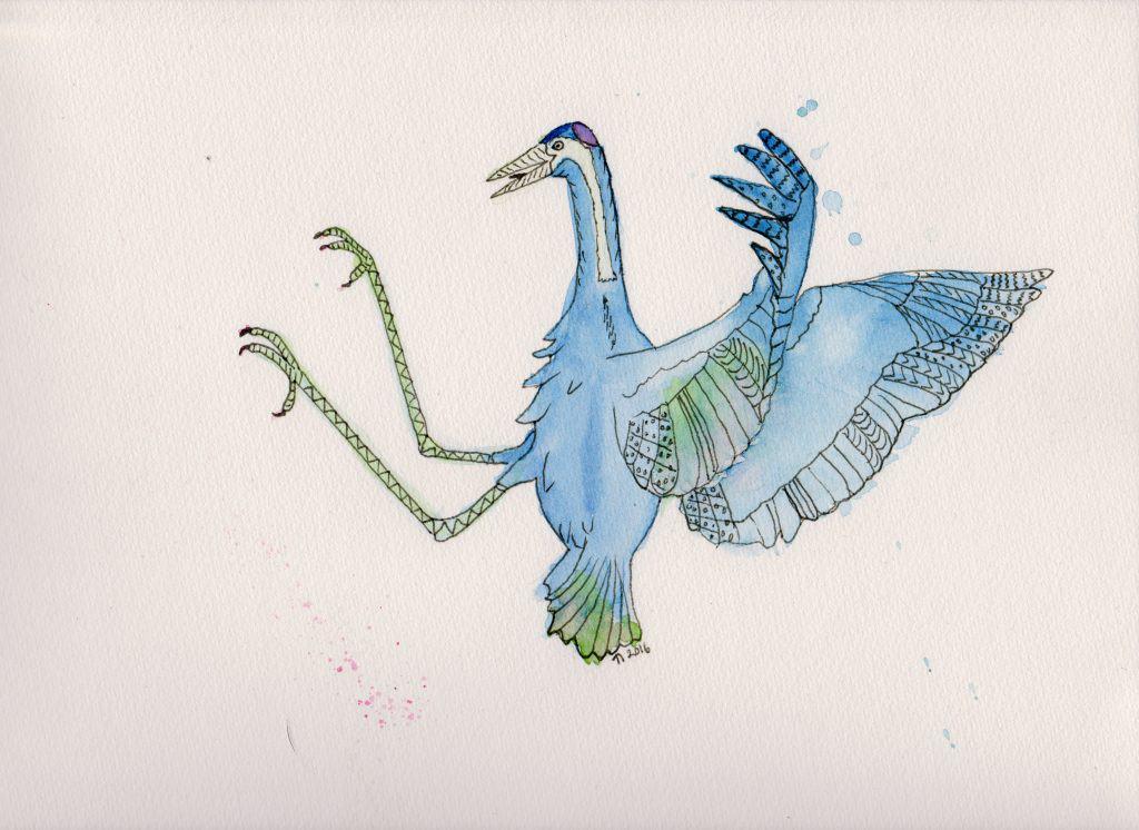 Strange Bird 8 Kung Fu Crane by Linda Ursin