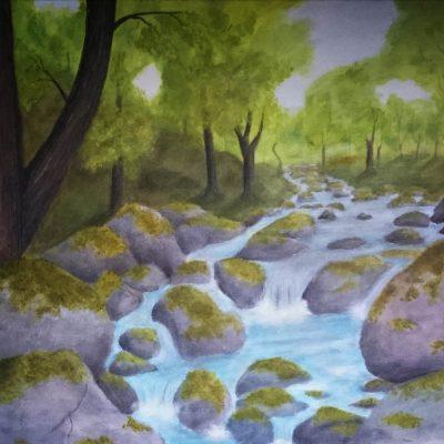 Alfheim - Mythological landscape in acrylics by Linda Ursin