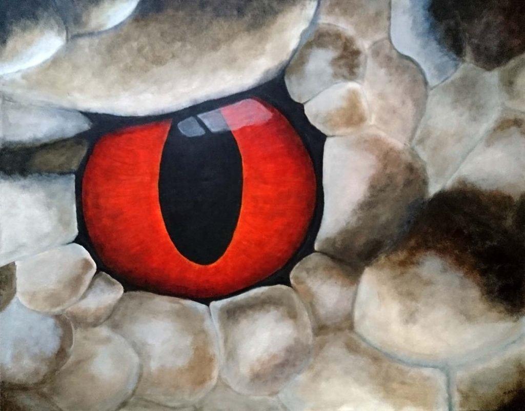 Slangens Øye - Maleri i akryl på lerret av Linda Ursin