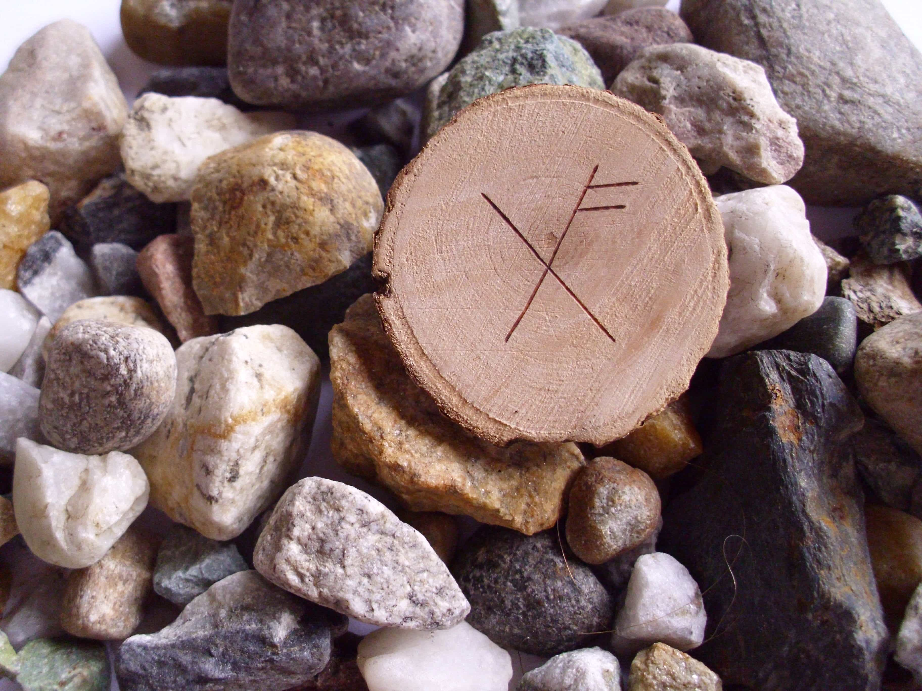 Wooden Rune Amulet For Luck - Hell