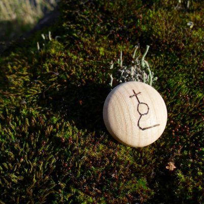 Pocket Rune for Accident Prevention - Wooden Rune Amulet / Forhindre uhell