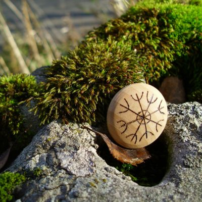 Dream Symbol - Pocket Rune to aid in making your dreams come true - Wooden Rune Amulet / Drømmesymbol