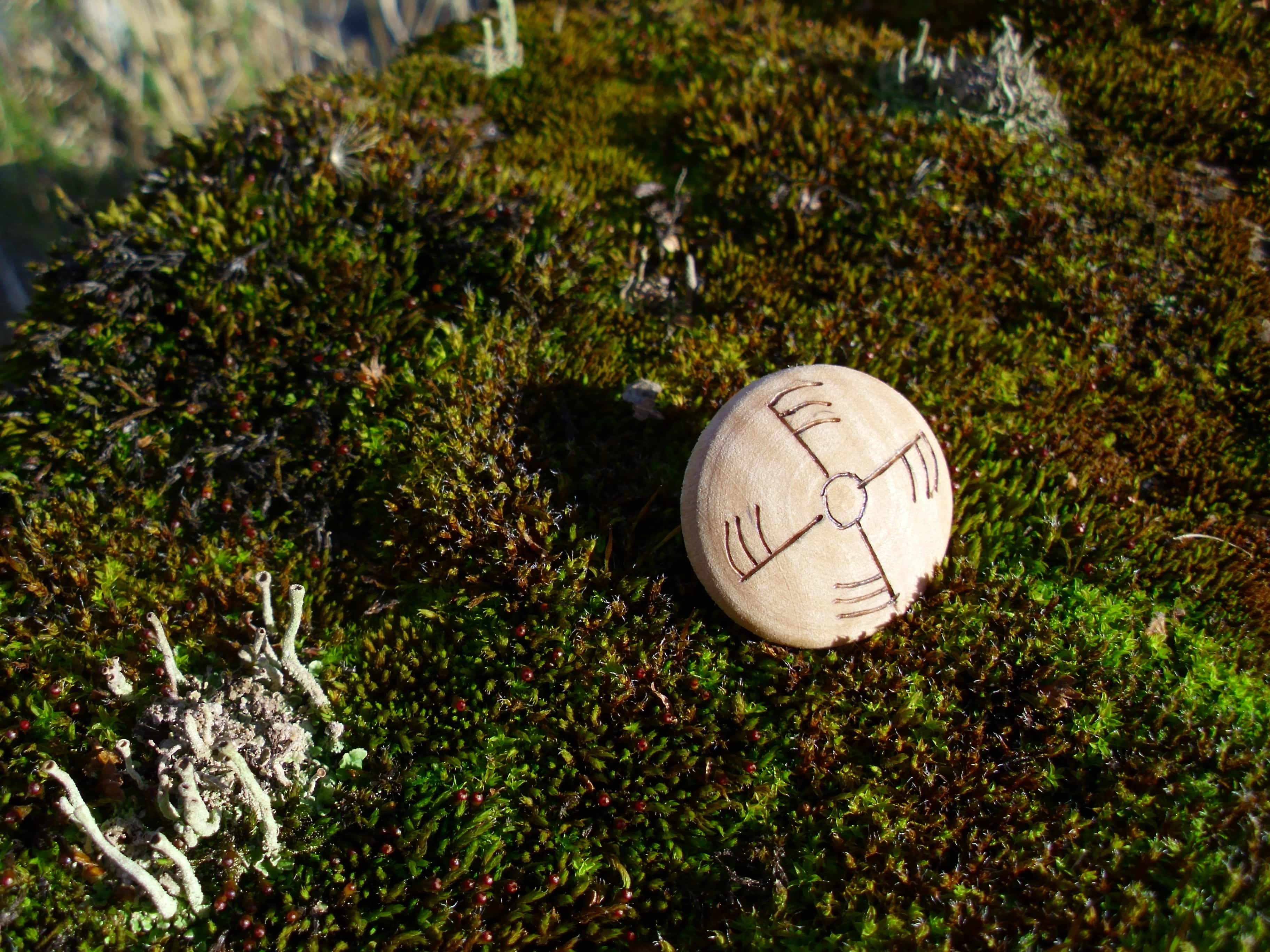 Ginfaxi - Pocket Rune for courage in combat - Wooden Rune Amulet