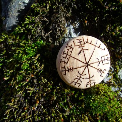 Vegvisir - Pocket Rune to not get lost - Wooden Rune Amulet