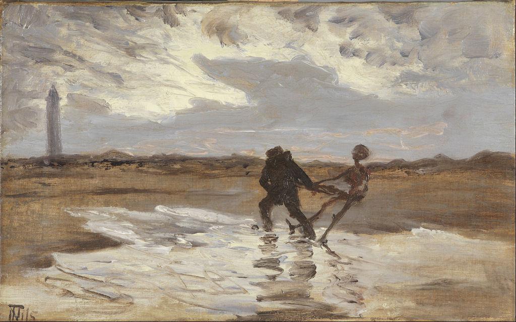 Den druknedes genfærd søger at skaffe havet et nyt offer, Thorvald Niss (1842–1905) (public domain)