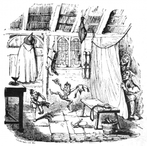 """""""The Elves and the Cobbler"""" engraving by George Cruikshank for """"German Popular Stories"""" published 1824-26"""