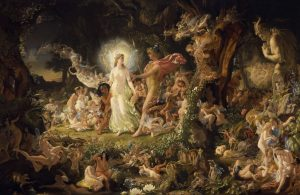 """The Quarrel of Oberon and Titania"" oil painting by Sir Joseph Noel Paton 1849"