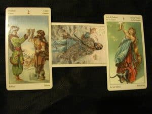 Tarot Spell for Love: A male or female card representing what you're looking for (Here the King of Cups), 2 of Cups, Ace of Cups
