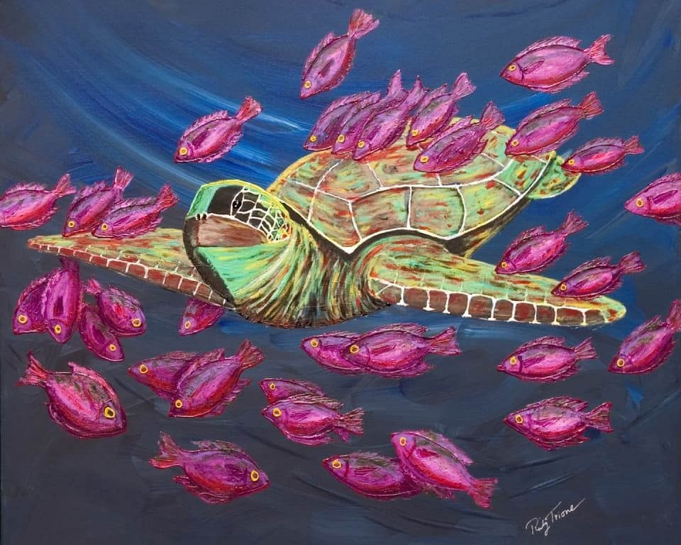 My Buddy by Ricky Trione, a painting of a sea turtle surrounded by pink fish
