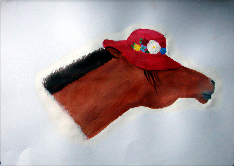 Horse in a hat - acrylics