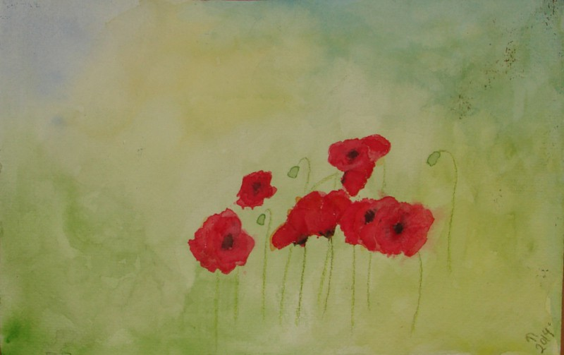 Watercolor experiment turned into poppies