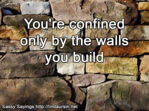 You're only confined by the walls you build - Sassy Sayings - https://lindaursin.net #sassysayings #quotes