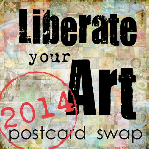 Having fun in the Liberate Your Art 2014 Postcard Swap