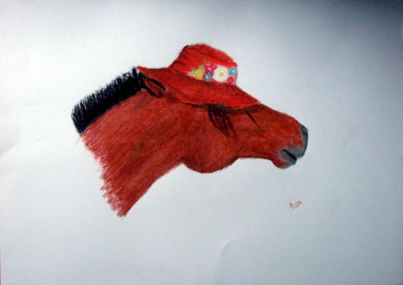 horse-hat-oilpastel