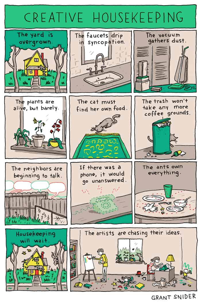 A comic strip about creative housekeeping