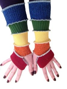 rainbow coloured arm warmers made from old sweaters