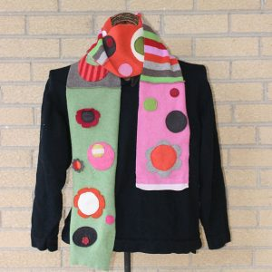 Funky Colorful Dotty Wool Winter Scarf - made from recycled, felted sweaters in green, pink, orange