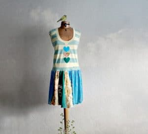 Blue green and white summer dress