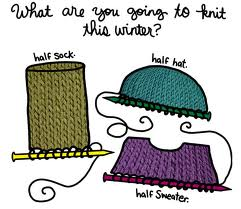 "Half finished knitting projects, with the text ""What are you going to knit this winter"""