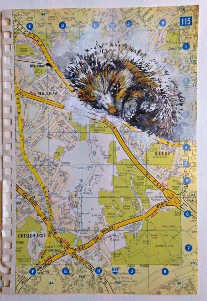 Map Over London.Hedgehog On A Map Over London By Sissel Olsen Linda Ursin