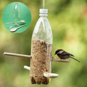 A picture of a bird eating from a bird feeder made with a plastic bottle and two wooden spoons