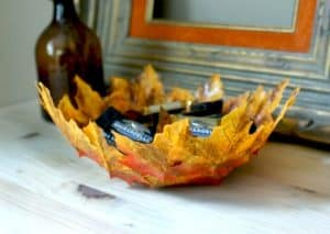 A picture of a bowl made from Maple leaves