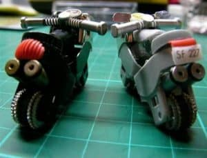 Two motorcycles made from old lighters