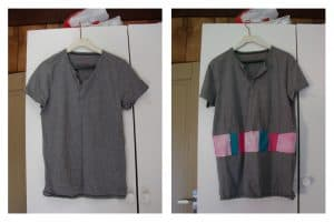 Grey t-shirt with buttons on the left, added a strip under the bust with patches of light pink, green, and hot pink on the right