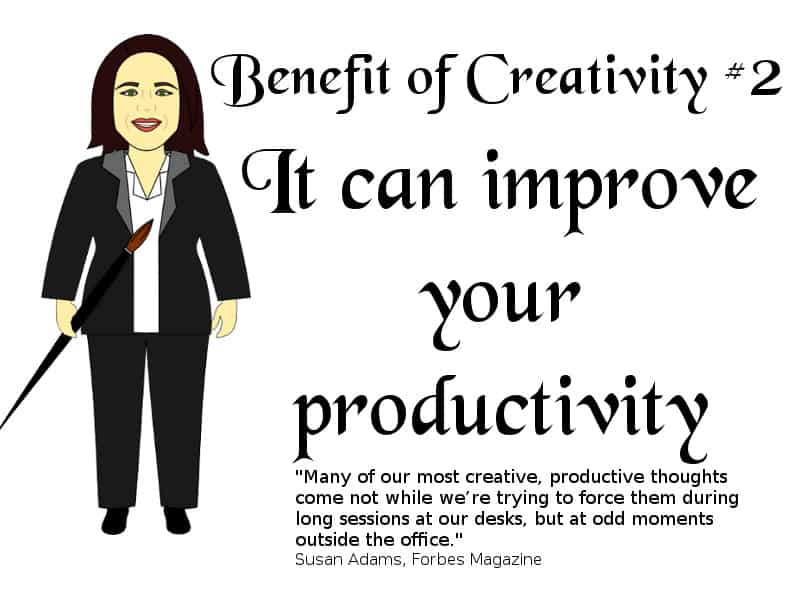 A cartoon version of me with a text saying Benefit of Creativity #2: It can improve your productivity. Plus a quote from Forbes.
