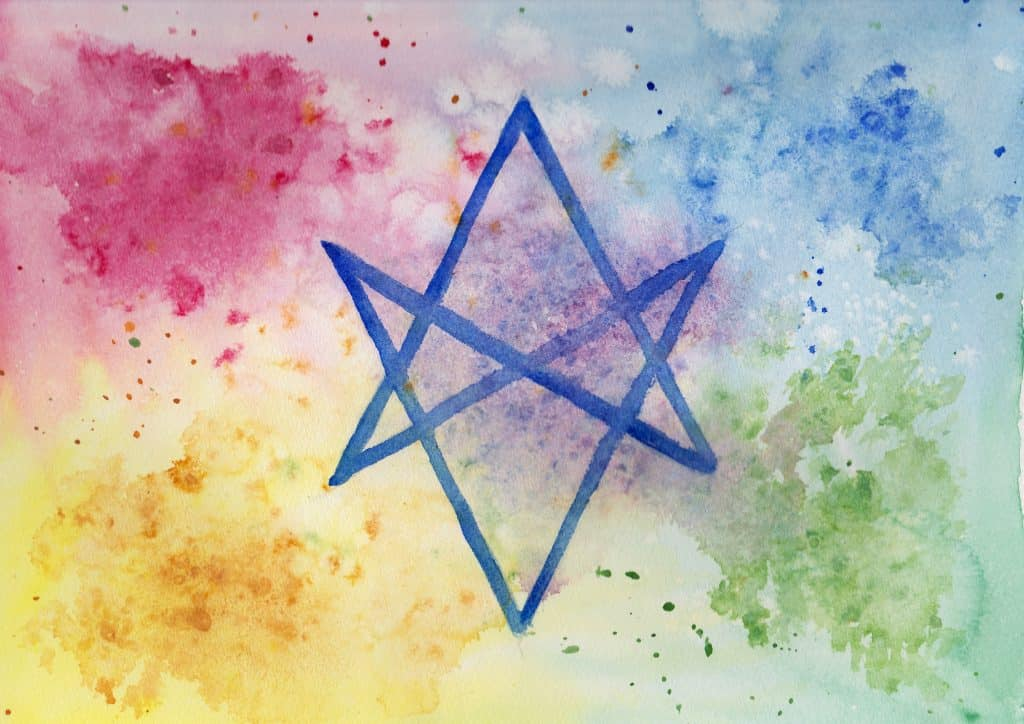 Unicursal Hexagram - 100 Sacred Symbols in Watercolour by Linda Ursin