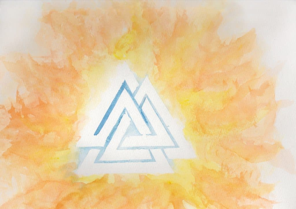 Valknut - 100 Sacred Symbols in Watercolour by Linda Ursin