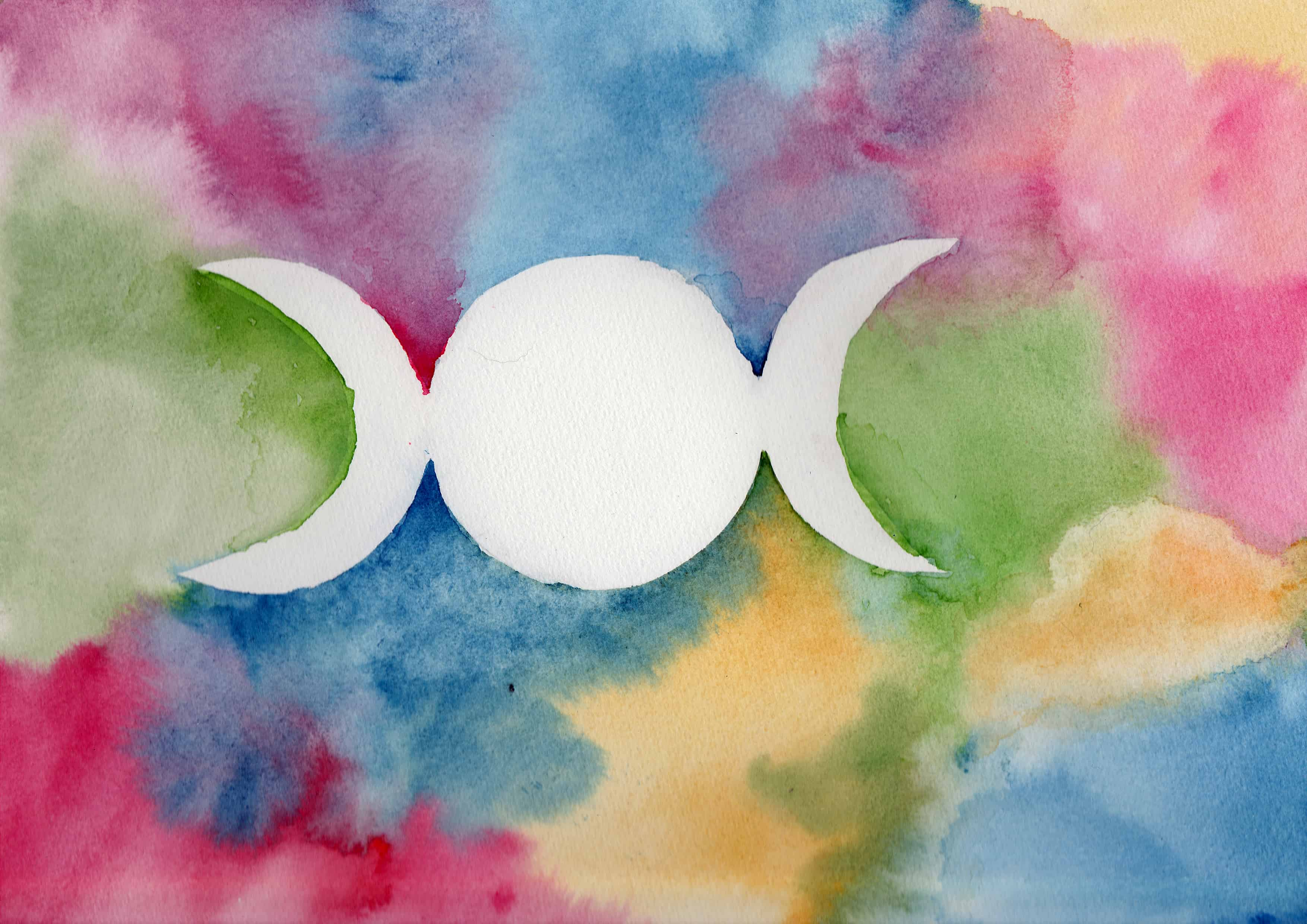 Triple Moon - 100 Sacred Symbols in Watercolour by Linda Ursin