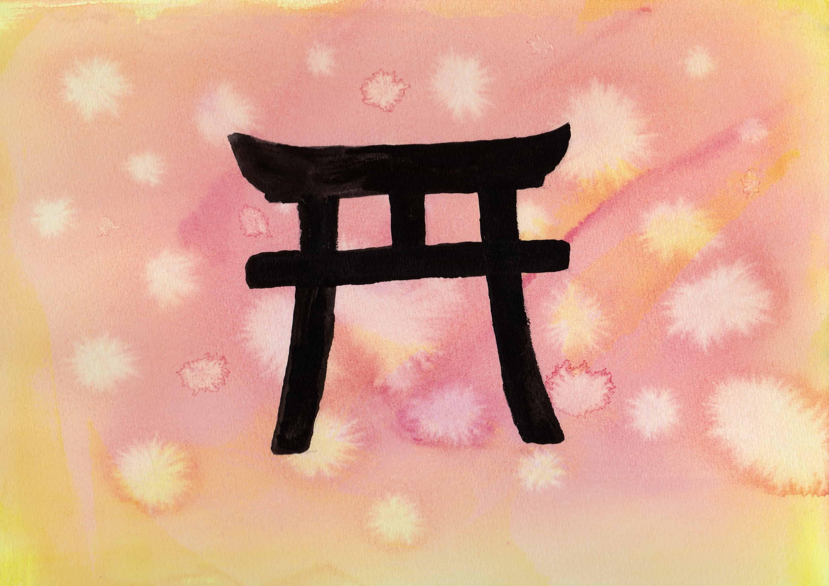 Torii Gate - 100 Sacred Symbols in Watercolour by Linda Ursin