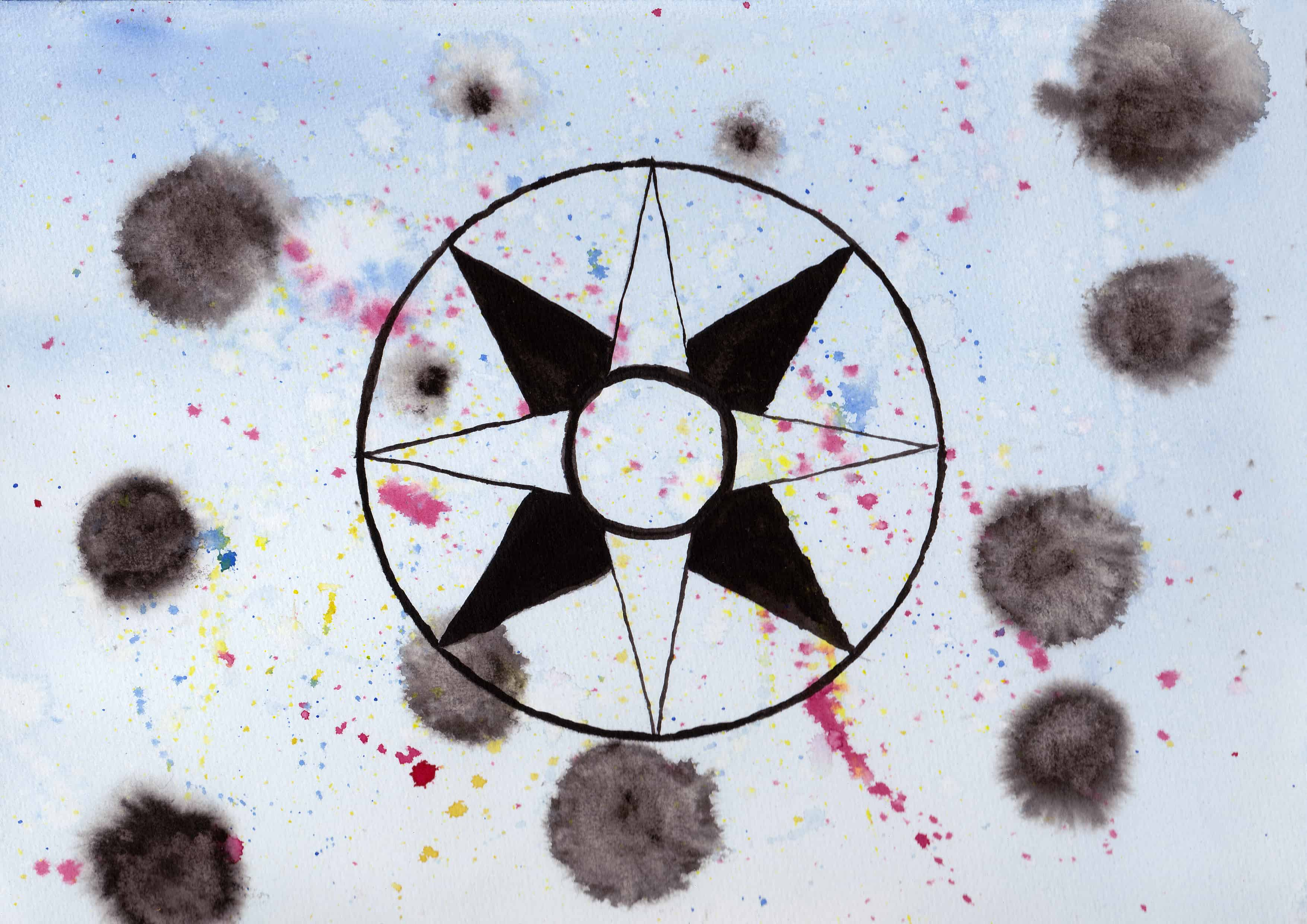 Star Disc of Ishtar - 100 Sacred Symbols in Watercolour by Linda Ursin