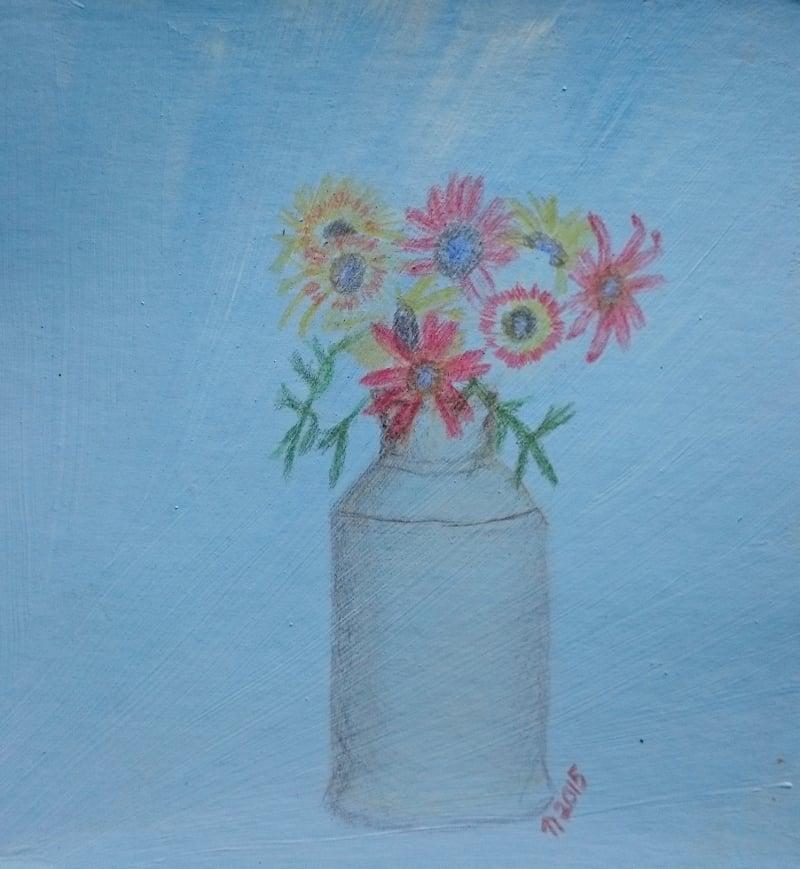Tricolor Daisies in a Jug