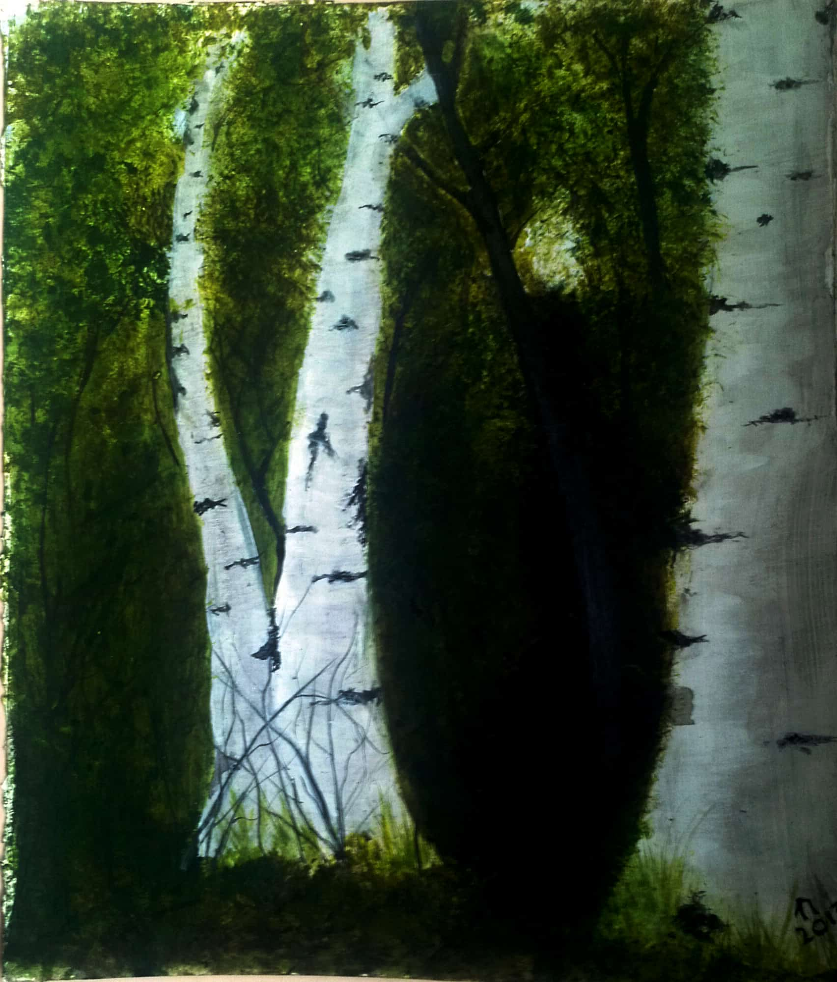 An acrylic painting of a birch forest