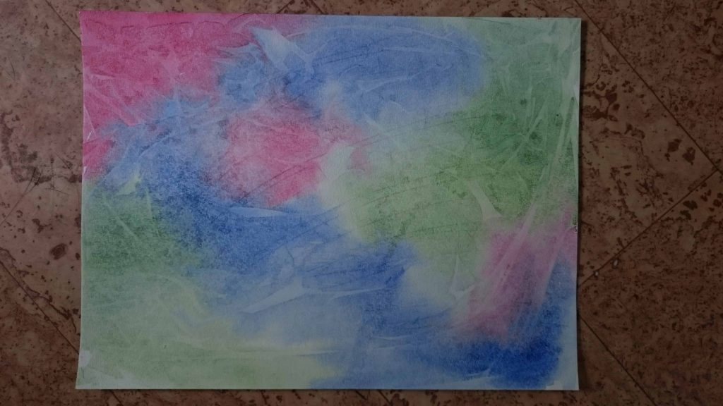 Result of watercolour and plastic wrap experiment