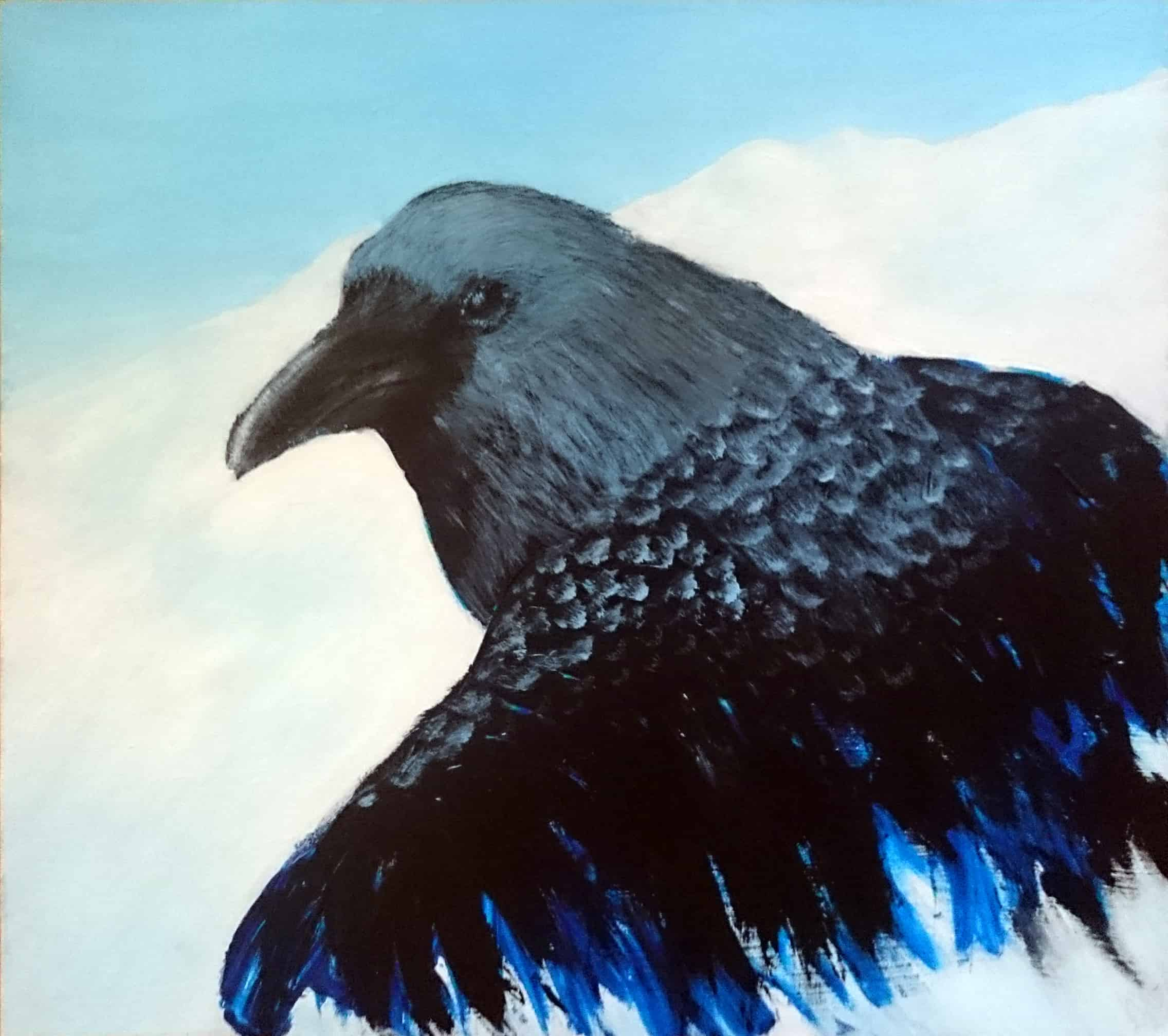 Raven Emerging, one of Linda Ursin's Bird drawings. wildlife paintings and Scandinavian wildlife paintings