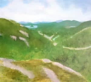 View from Litlløkkjhaugen - acrylic landscape painting by Linda Ursin