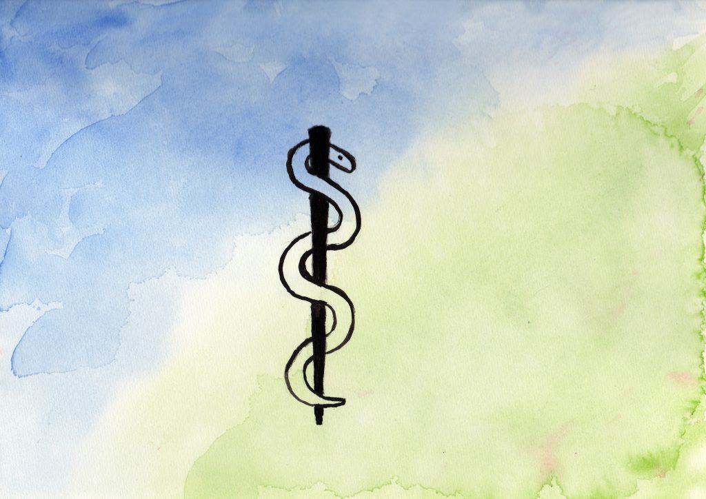 Asclepius Wand - 100 Sacred Symbols in Watercolour by Linda Ursin