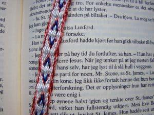 Arrows tablet-woven bookmark closeup