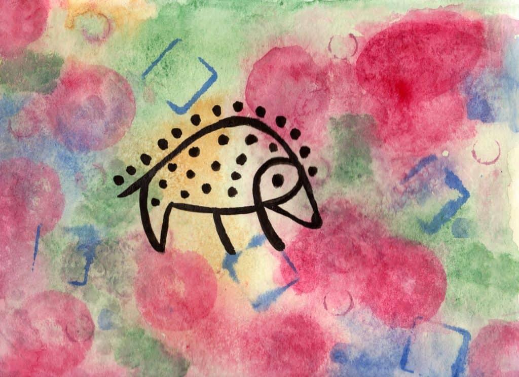 Hedgehog - 100 Sacred Symbols in Watercolour by Linda Ursin