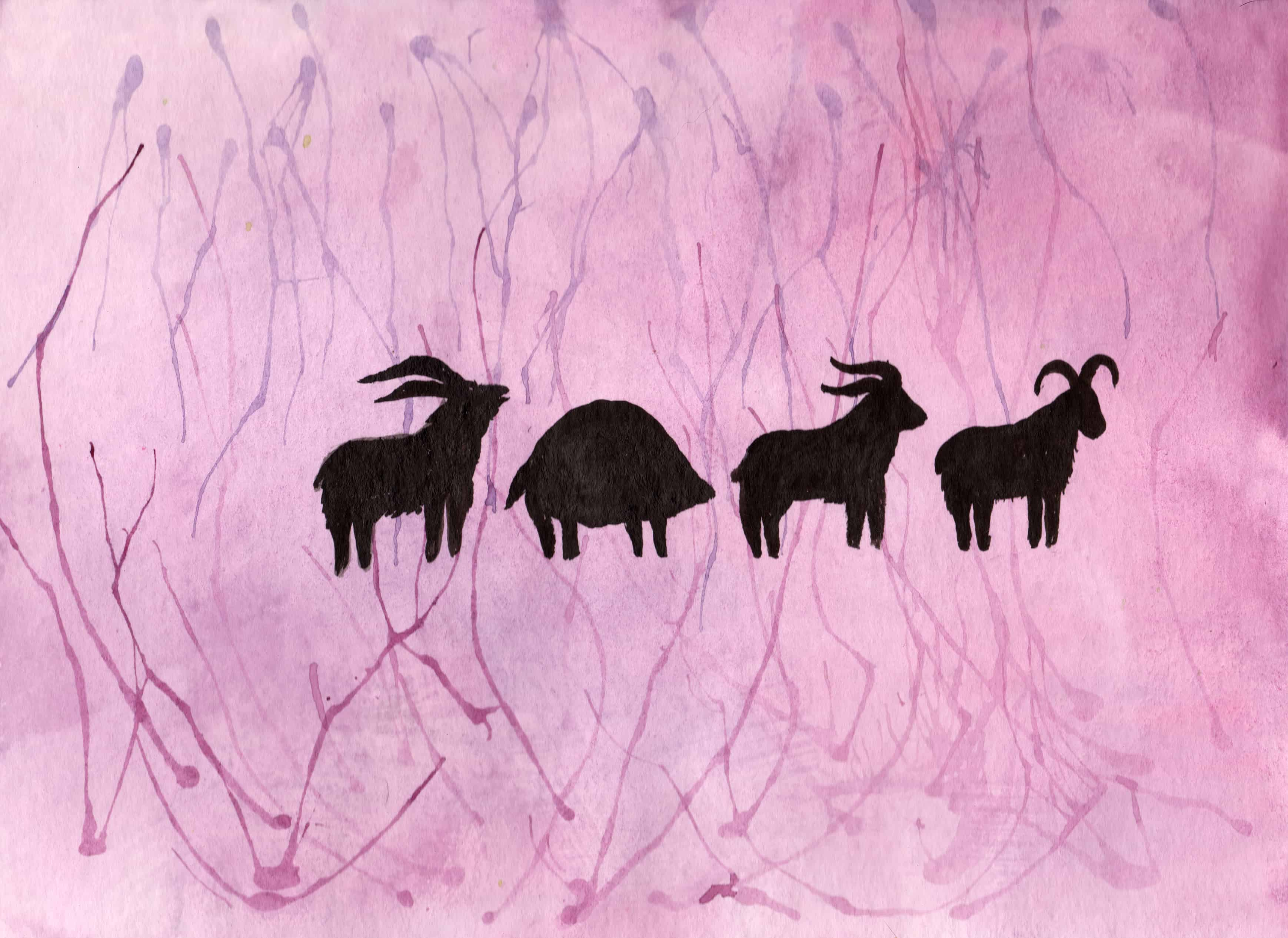 Animal Procession - 100 Sacred Symbols in Watercolour by Linda Ursin