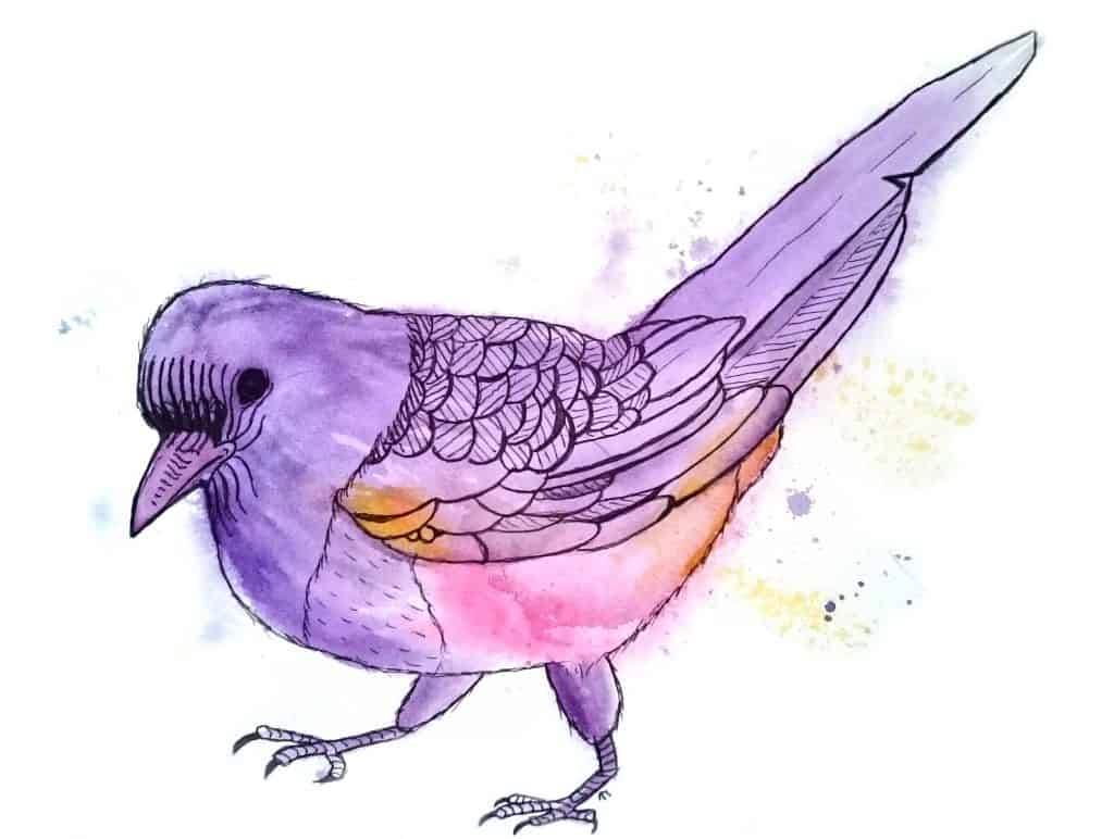 Strange Birds 1: Young Magpie in Purple by Linda Ursin